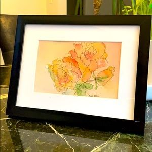 One of a kind floral watercolor and ink
